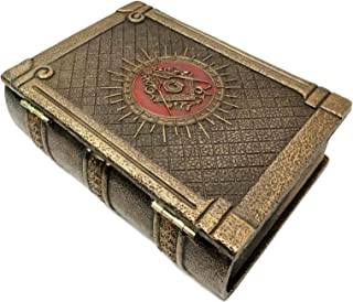 "Ebros Masonic Symbol Freemasonry Square and Compasses Ritual Morality Hinged Book Box 5.75""Long Small Jewelry Box Container"