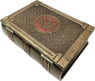 Ebros Masonic Symbol Freemasonry Square and Compasses Ritual Morality Hinged Book Box 5.75