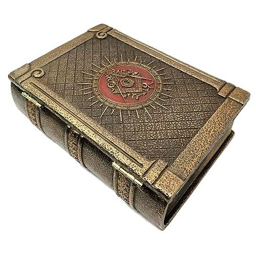 """Ebros Masonic Symbol Freemasonry Square and Compasses Ritual Morality Hinged Book Box 5.75""""Long Small"""