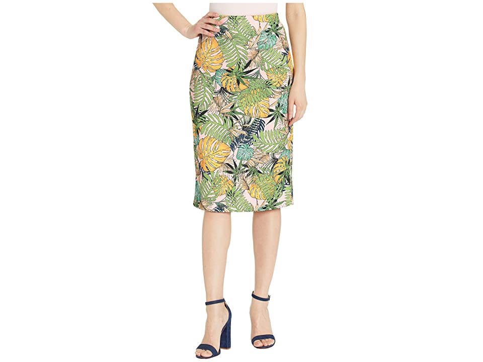 eci Water Color Floral Stencil Scuba Pencil Skirt (Pink/Green) Women