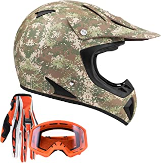 Typhoon Adult ATV MX Helmet Goggles Gloves Gear Combo Camo w/Orange Goggles & Gloves (Small)