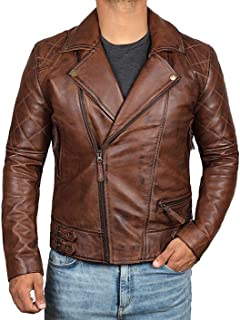 Mens Leather Jacket - Brown Real Lambskin Leather Jackets for Men