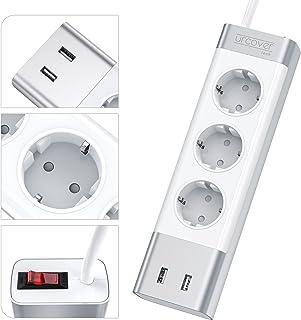 Urcover Mehrfachstecker mit 2X USB Anschlüssen | Dreifach Steckerleiste inkl. Auto-Detect und Überspannungsschutz | 2m Kabel | Wandmontage geeignet | Silber - Aluminium | Elegante Steckdosenleiste