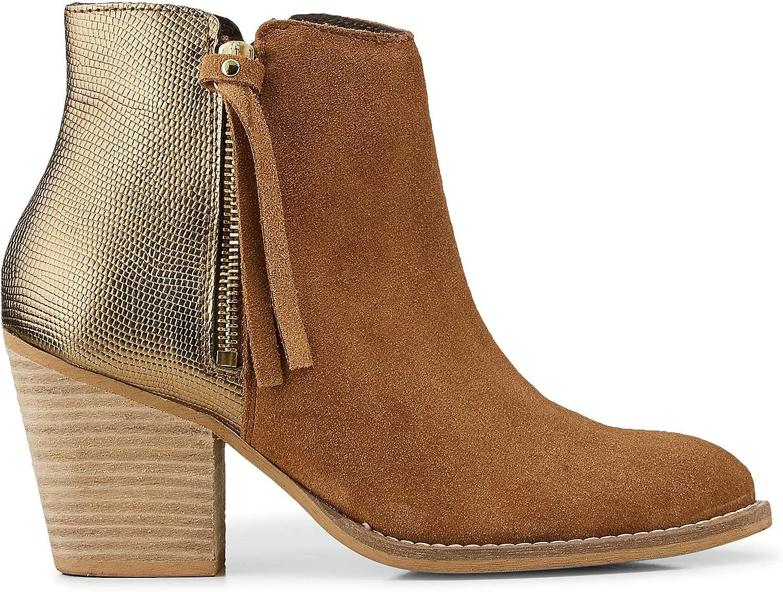 Cox Damen Damen Fashion-Stiefelette aus Leder, Ankle-Stiefel in in Braun mit Metallic-Rückseite und Block-Absatz  Wir bieten verschiedene berühmte Marke