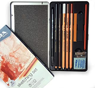 Lyra 11 Piece Superior Sketcing Pencil Set with accessories - Made in Germany
