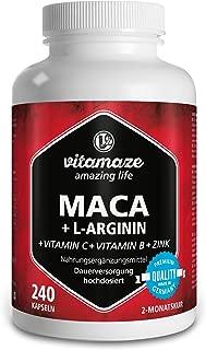 Maca cápsulas dosis diaria 1000 mg + L-arginina 1800 mg + vitaminas C, B6, B12 + zinc, 240 cápsulas por 2 meses, producto de calidad, Hecho en Alemania