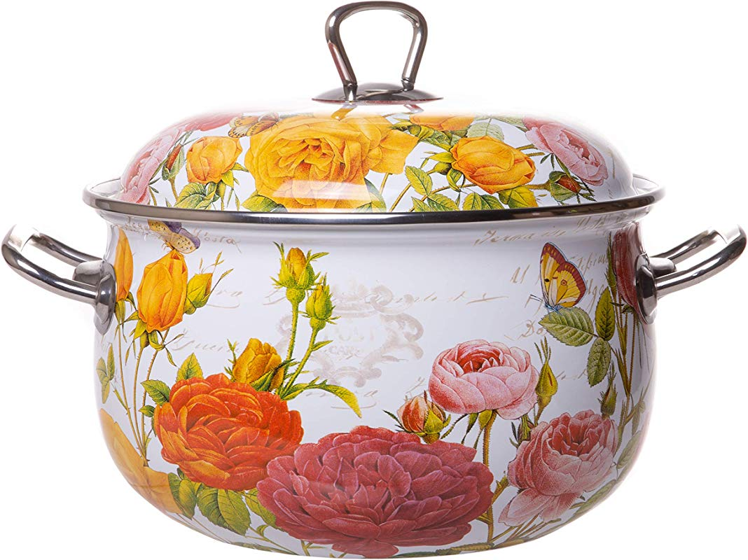 Enamel On Steel Round Covered Stockpot Pasta Stock Stew Soup Casserole Dish With Lid Up To 4 Quarts 20 Cm Roses