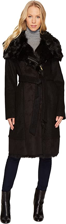Vince Camuto - Wool Coat with Faux Shearling and Faux Fur Detail N1231