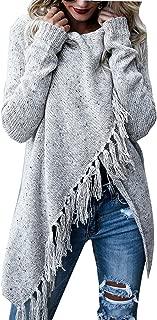 Fantastic Zone Women's Long Sleeve Speckled Fringe Open Front Cardigan Sweaters for Women