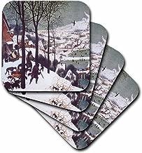 3dRose CST_130138_2 Hunters in the Snow by Pieter Bruegel Soft Coasters (مجموعة من 8)