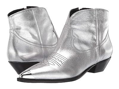 Massimo Matteo Metallic Western Bootie (Silver Crack) Women