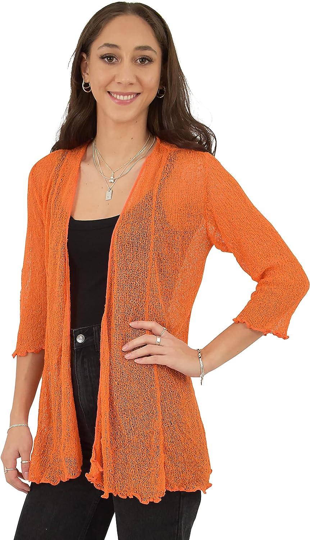 Island Style Clothing Long Sleeve Knit Shrug Sheer Lightweight Cardigan