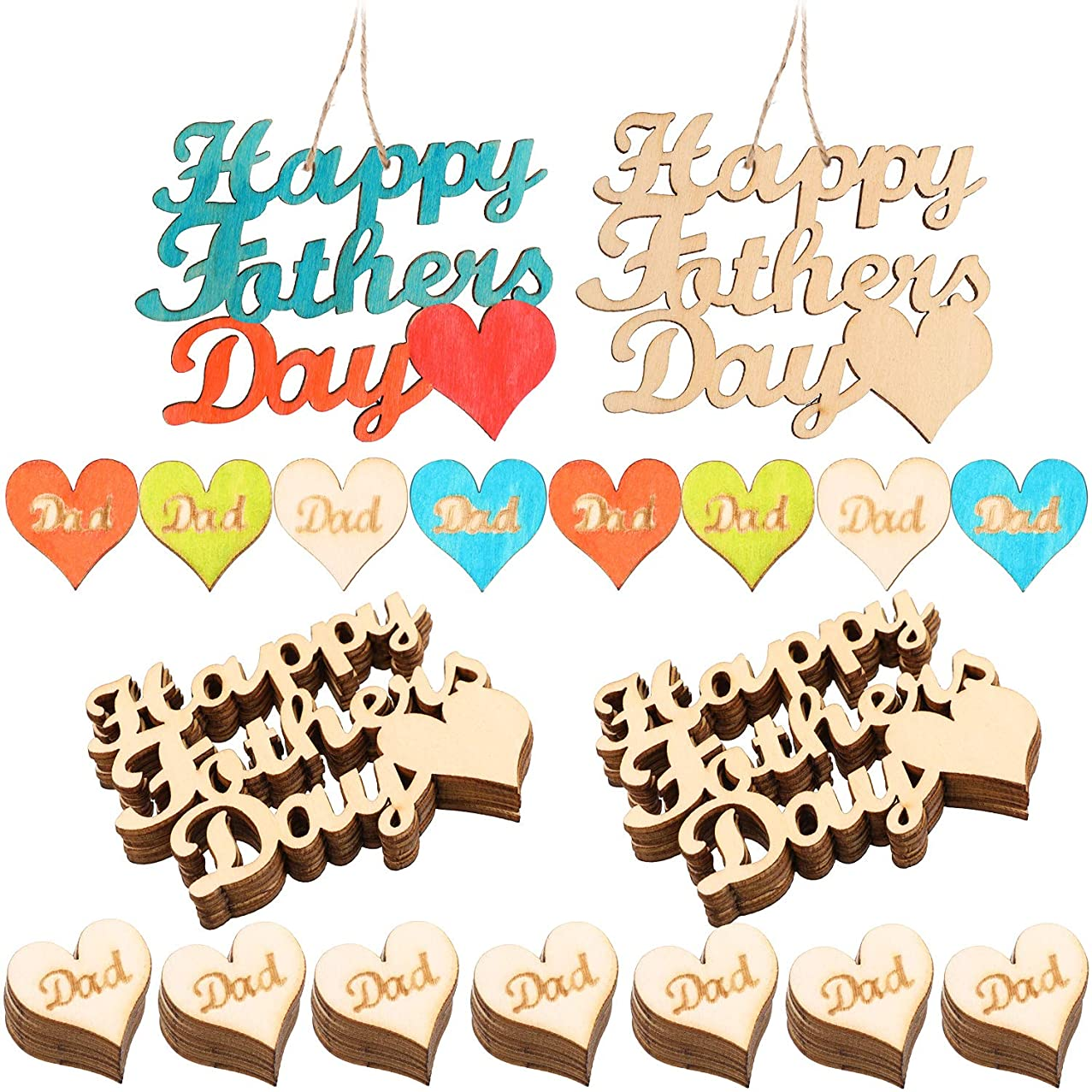60 Pieces Fathers Day Wooden Embellishments Heart Shape Hanging Ornament Happy Fathers Day Letter Shape Wooden Ornament for Party Decoration and Gift