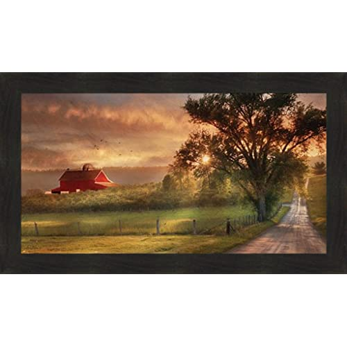 Home Cabin Decor Country Lane Sunset By Lori Deiter 20x34 Red Barn Farm Evening Sun Fields