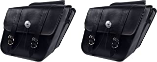 Dowco Willie & Max 58700-00 Deluxe Series: Synthetic Leather Standard Slant Motorcycle Saddlebag Set, Black Universal Fit, 15 Liter Each/30 Liter Total Capacity