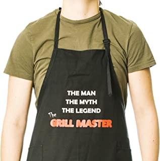 Funny Guy Mugs Grill Master Adjustable Apron with Pockets - Funny Apron for Men and Women - Perfect for BBQ Grilling Barbecue Cooking Baking