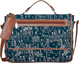 """Funk For Hire Printed Petrol Blue Cotton Canvas and Leatherette Unisex Laptop Sling Bag fit up to 15.6"""" Screen Size Laptop"""