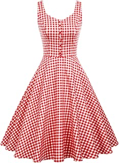 Homecoming 1950s Retro Vintage Sleeveless V-Neck Flared A-Line Dress BP416