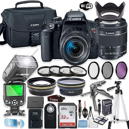 Canon EOS Rebel T7i - Lente de cámara réflex digital Canon EF-S 0.709-2.165in STM + 32 GB de memoria Sandisk + funda Canon + flash TTL Speedlight (hasta 180 pies) + paquete de accesorios