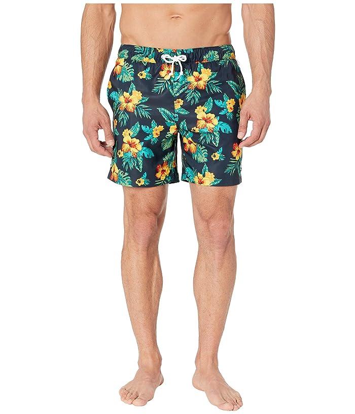 Original Penguin Floral Elastic Stretch Swim Shorts (Dark Sapphire) Men