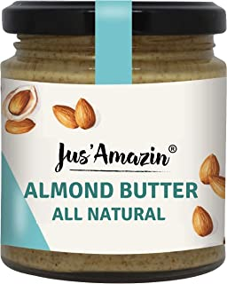 Jus' Amazin Almond Butter - All Natural, Unsweetened, High Protein, Vegan, Cholesterol Free, Dairy Free, Soy Free, Gluten ...