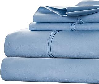 Bedford Home Cotton Rich Sateen Sheet Set, Queen, Blue