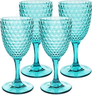 Laguna Beach Wine Glass Blue Shatterproof Tritan Drinking Glasses, Set of 4 - Unique Plastic Glasses - Unbreakable Glassware