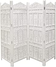 The Urban Port Antique 4 Panel Handcrafted Wooden Room Partitions, White