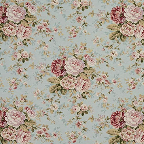 Upholstery Fabric Floral Blue Amazon Com
