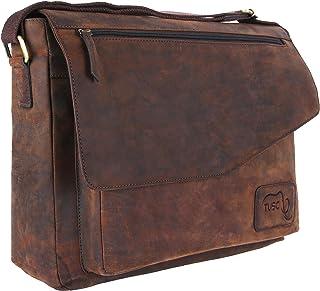 TUSC TUSC Triton Braun Leder Tasche Laptoptasche bis 17 Zoll Herren Umhängetasche Aktentasche Schultertasche für Büro Notebook Messenger Bag Laptop iPad, Größe- 41x31x12 cm