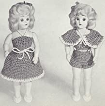 Vintage Crochet PATTERN to make - 8 inch Doll Clothes Swimsuit Bra Halter Dress. NOT a finished item. This is a pattern and/or instructions to make the item only.