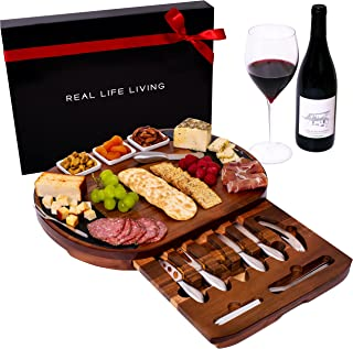 Large Round Charcuterie Board Set - Giftable 20-Piece Cheese Board and Knife Set - House Warming Present or Wedding & Enga...