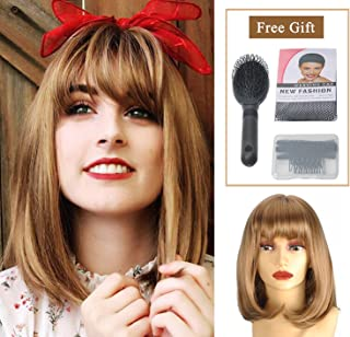 GEX Brown Bob Short Synthetic Wig Straight for Women Girls Fiber Full Wigs Like Real Hair for Daily Party Cosplay