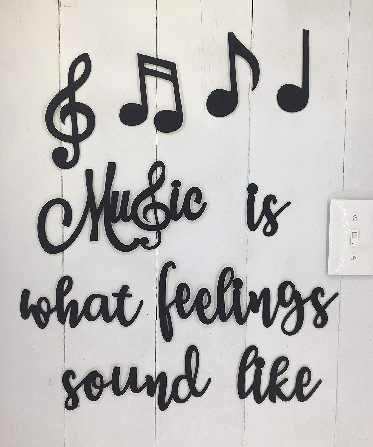 Music is What Feelings - This is Not Vinyl Decal or Peel Stick - Easily Tak-it-Up with Plasti-Tak provided Removable Paintable Art Wall Décor Gift Quotes Sayings for Family Home College Dorm