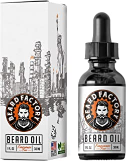 BEARD FACTORY Hard Workers' Beard Oil - Fast Absorbing, Non Greasy Feel, Natural Fragrance, Organic Oils, Moisturizes and Promotes Growth Plus Vitamin E to Relieve Dry and Itchy Facial Hair.