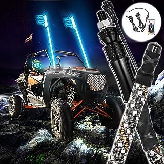 AddSafety 3FT 2PCES RGB LED Whips Light For Off Road Vehicle ATV UTV RZR Jeep Trucks Dunes