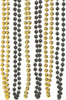 Black and Gold Beaded Necklaces for Mardi Gras - Jewelry - Mardi Gras Beads - Mot Round - Mardi Gras - 48 Pieces