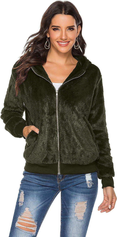 HUILAN Women's Casual Solid Faux Fur Fuzzy Zipper Teddy Jacket Outwear