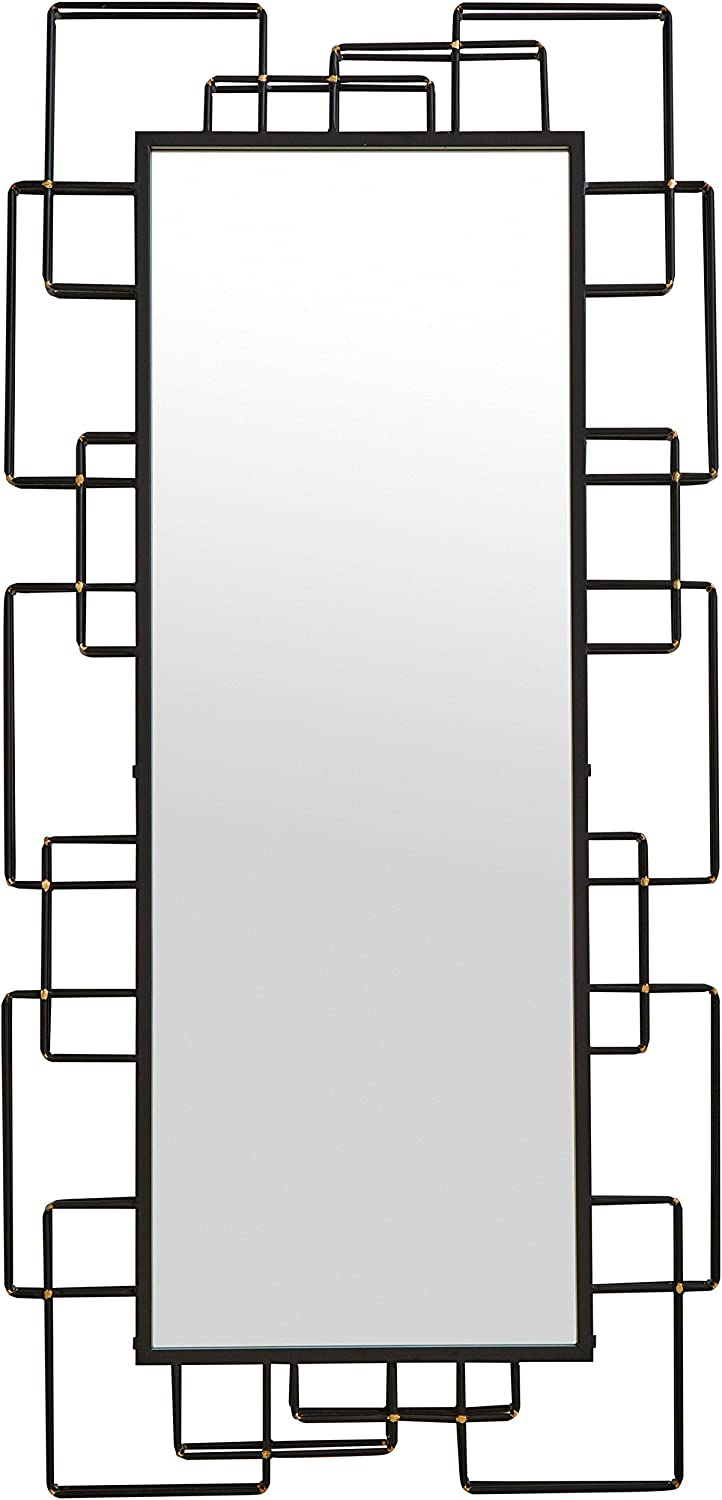Rivet Geometric Metal Mirror, 47  H, Black with gold Accents
