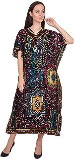 Women Beach Caftan Kaftan Lounge Wear Hippy Boho Maxi Kimono Sleeve Long Dress
