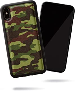SteepLab Modern Saffiano Leather case for iPhone Xs Max (Urban Forest Camo)