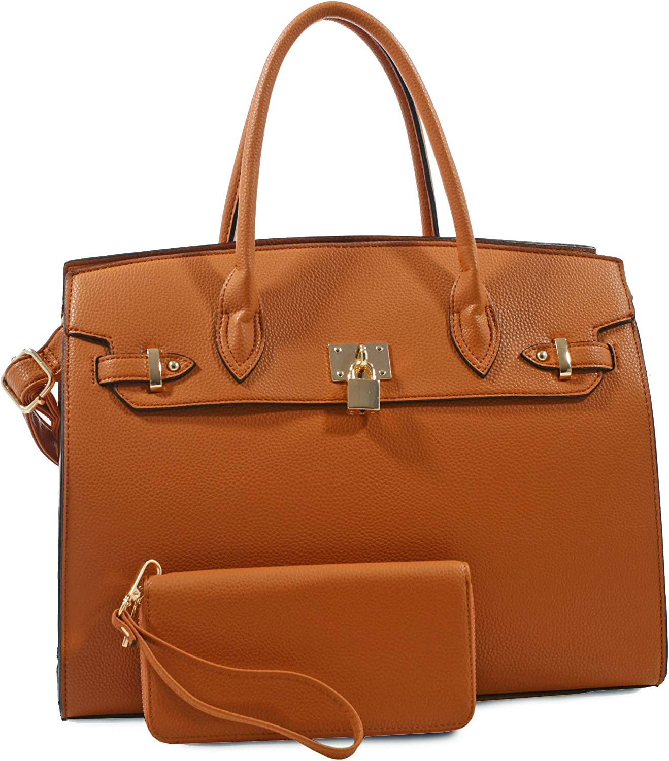 Deluxity Structured Large Satchel w Padlock Accent + Strap Tan
