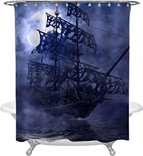 MitoVilla Sailing Pirate Ghost Ship Shower Curtain, Flying Dutchman on High Seas in a Grey Foggy Moonlit Night, Mysterious 3D Painting Art Decor for Nautical Pirate Ship Bathroom, 72 X 78 inches