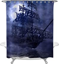 MitoVilla Sailing Pirate Ghost Ship Shower Curtain, Flying Dutchman on High Seas in a Grey Foggy Moonlit Night, Mysterious 3D Painting Art Decor for Nautical Pirate Ship Bathroom, 72 X 72 inches