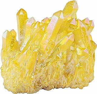 mookaitedecor Titanium Coated Natural Rock Crystal Cluster Geode Stone Specimen, Yellow