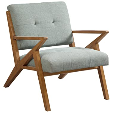 Ink+Ivy Rocket Accent Chair Mid Century Modern Tufted Styling, Solid Wood Sturdy Z-Frame Retro Style, Comfortable All Foam, Soft Fabric Bedroom Lounger, Slanted Back and Armrest, Seafoam