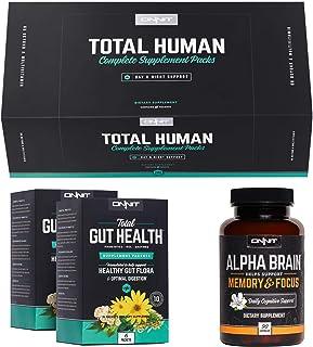 ONNIT Total Human Optimization Stack - Alpha Brain (90ct) + Total Human (60ct) + Total Gut Health (30ct)