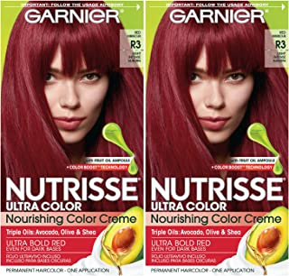 Garnier Nutrisse Ultra Color Nourishing Permanent Hair Color Cream, R3 Light Intense Auburn (2 Count) Red Hair Dye