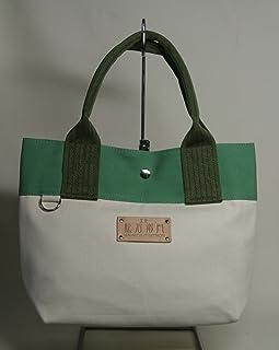 工楽松右衛門帆布 折り返し8cmトートバッグ(生成り×緑×持ち手:オリーブ)金具付き