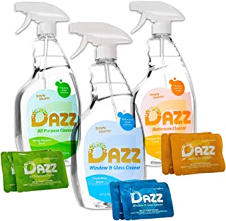 Dazz Natural Cleaning Tablets - Whole House Starter Kit - All Purpose, Glass, and Bathroom Cleaners